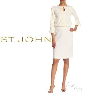 St. John Santana knit pencil skirt ivory xs 0